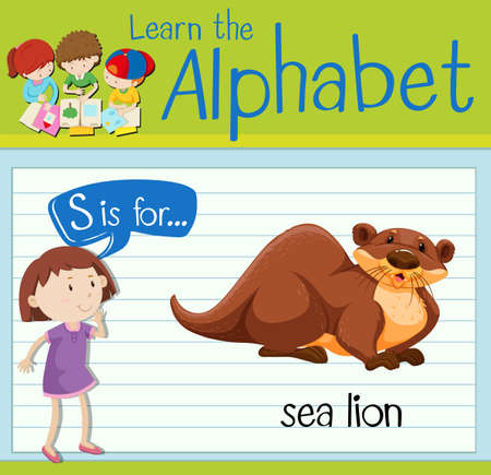 sea lion: Flashcard letter S is for sea lion illustration