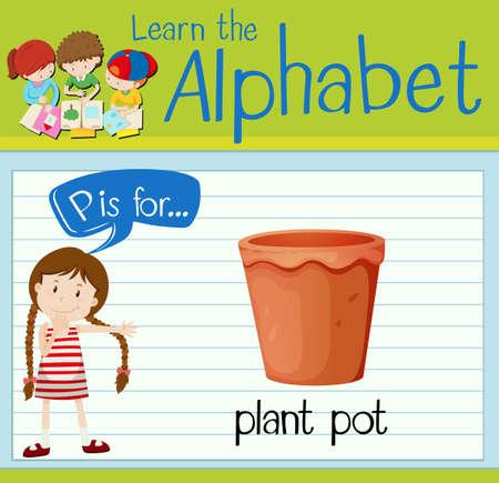plant pot: Flashcard letter P is for plant pot illustration Illustration