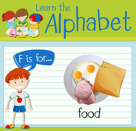 toasted: Flashcard letter F is for food illustration Illustration