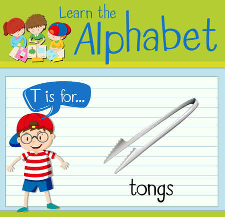 tongs: Flashcard letter T is for tongs illustration