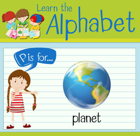 p illustration: Flashcard letter P is for planet illustration