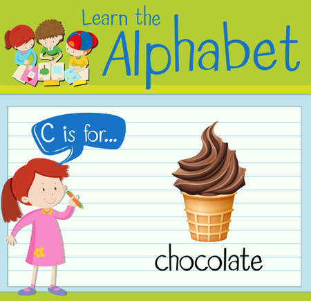 softcream: Flashcard letter C is for chocolate illustration