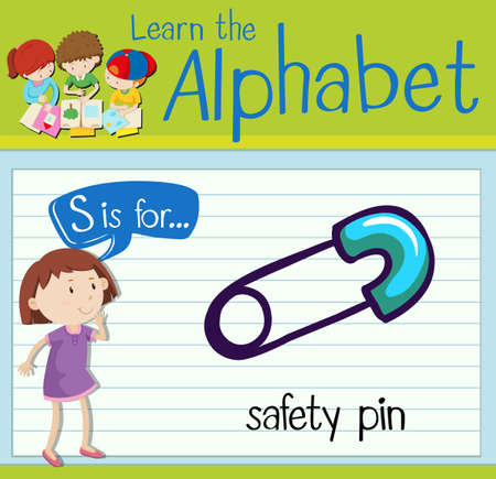 safety pin: Flashcard letter S is for safety pin illustration Illustration