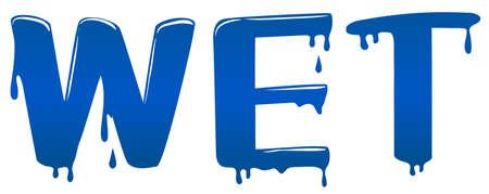 font design: Font design with word wet illustration