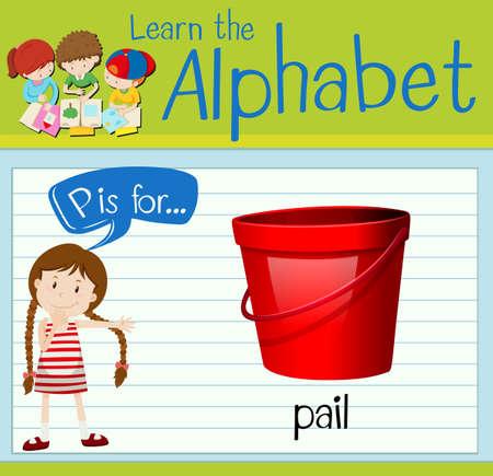 pail: Flashcard letter P is for pail illustration Illustration