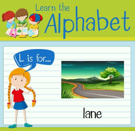 lane: Flashcard letter L is for lane illustration