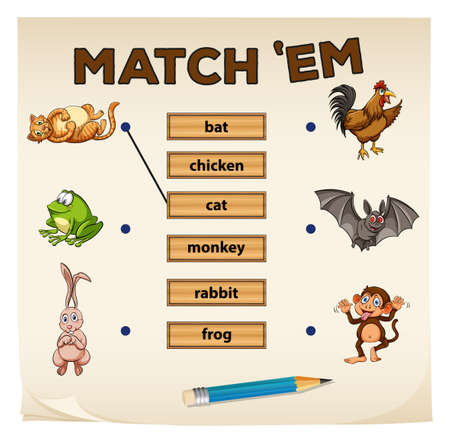 matching: Matching game with many animals illustration