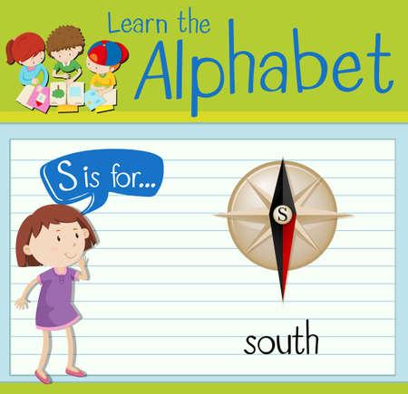 children s art: Flashcard letter S is for south illustration