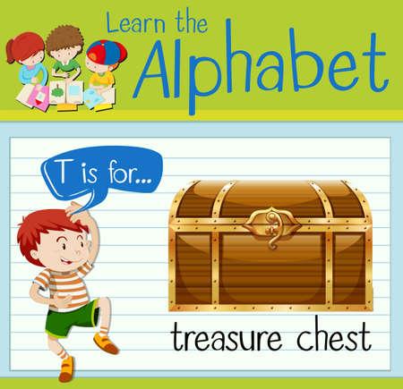 letter alphabet: Flashcard letter T is for treasure chest illustration Illustration
