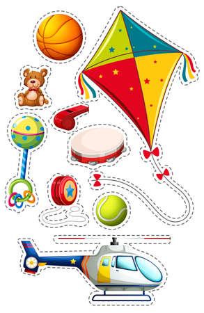 Sticker set with many toys illustration