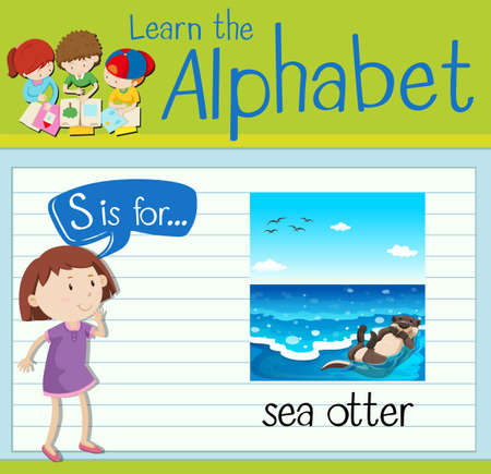 otter: Flashcard letter S is for sea otter illustration Illustration