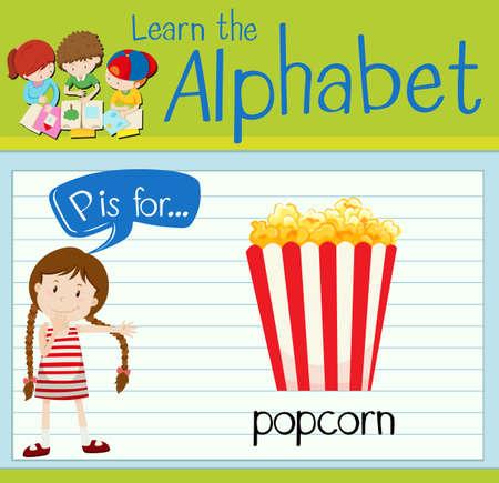 p illustration: Flashcard letter P is for popcorn illustration