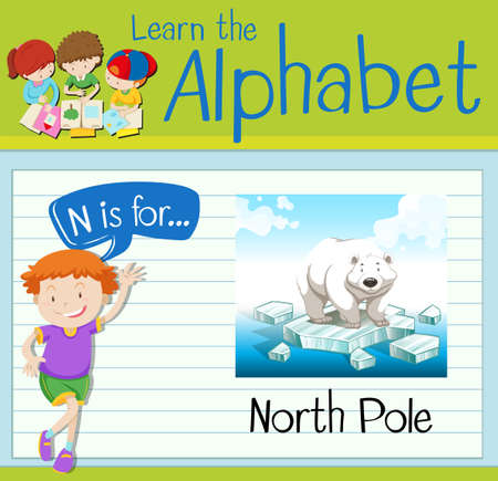 north pole: Flashcard letter N is for north pole illustration