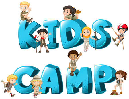 Word design with kid's camp illustration