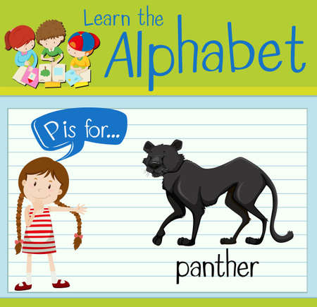p illustration: Flashcard letter P is for panther illustration