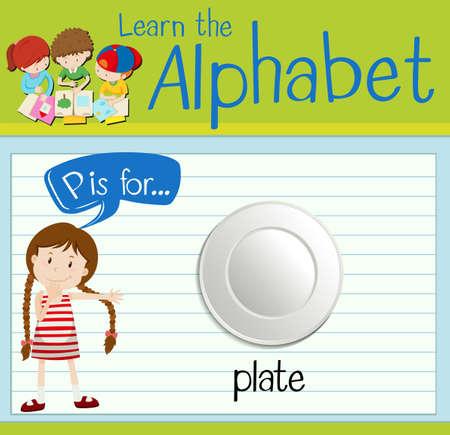 p illustration: Flashcard letter P is for plate illustration