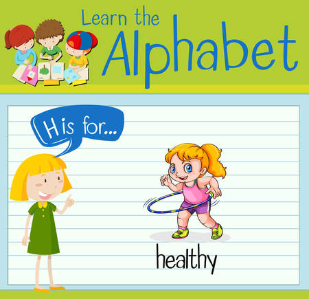 hulahoop: Flashcard letter H is for healthy illustration