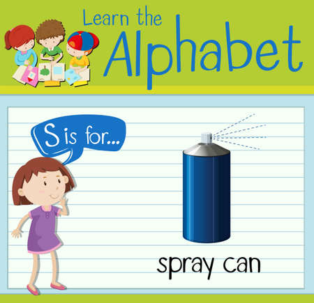 spray can: Flashcard letter S is for spray can illustration Illustration