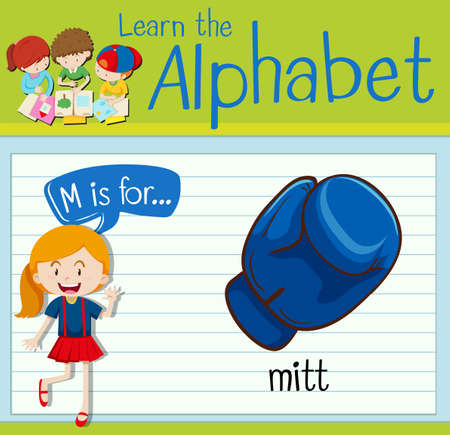 mitt: Flashcard letter M is for mitt illustration Illustration
