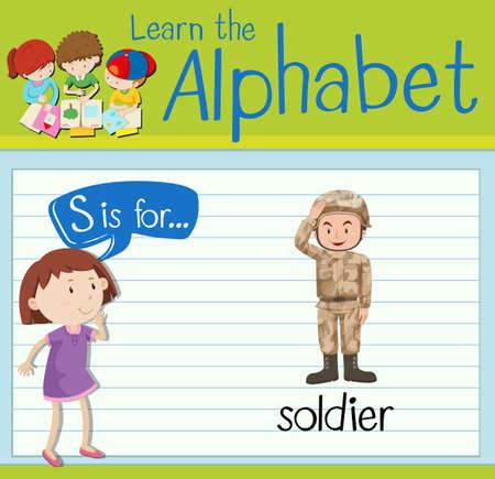 children s art: Flashcard letter S is for soldier illustration