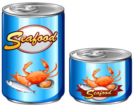 aluminum: Seafood in aluminum cans illustration
