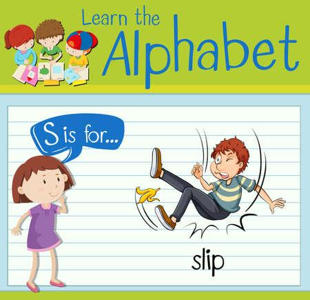 Flashcard letter S is for slip illustration