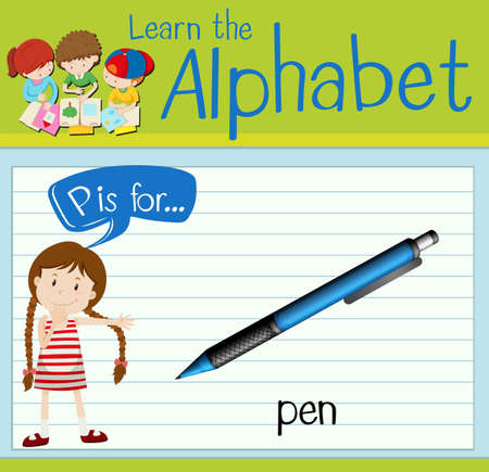 writing paper: Flashcard letter P is for pen illustration Illustration