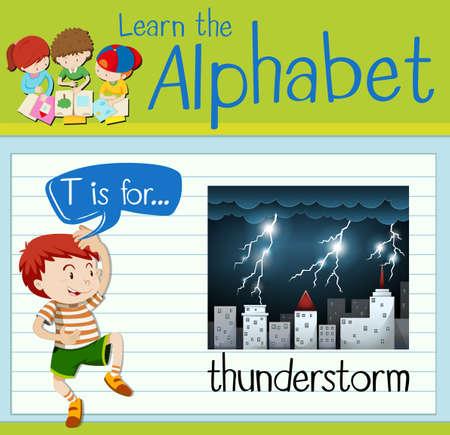 thunderstorm: Flashcard letter T is for thunderstorm illustration Illustration