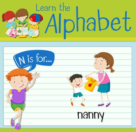 nanny: Flashcard letter N is for nanny illustration