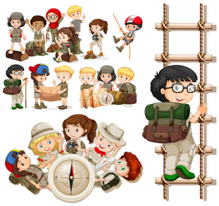 Children doing different activities for hiking illustration