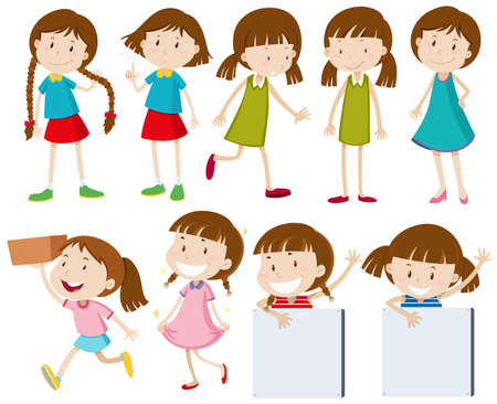 Girls doing different actions illustration