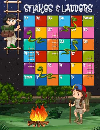 fogatas: plantilla de juego con niños acampar ilustración de fondo