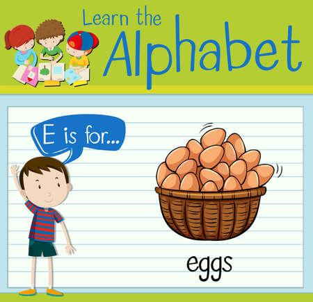 Flashcard letter E is for eggs illustration