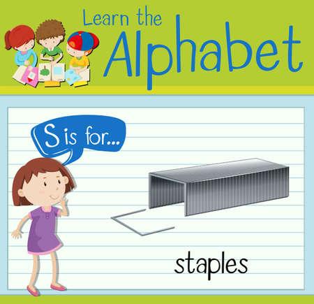 children s art: Flashcard letter S is for staples illustration