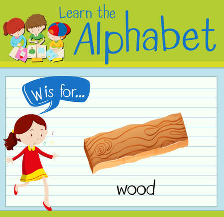 plywood: Flashcard letter W is for wood illustration