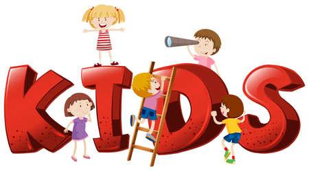 Font design for the word kids illustration