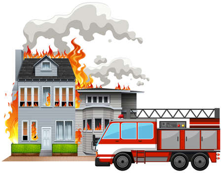 house on fire: Fire scene with fire truck illustration