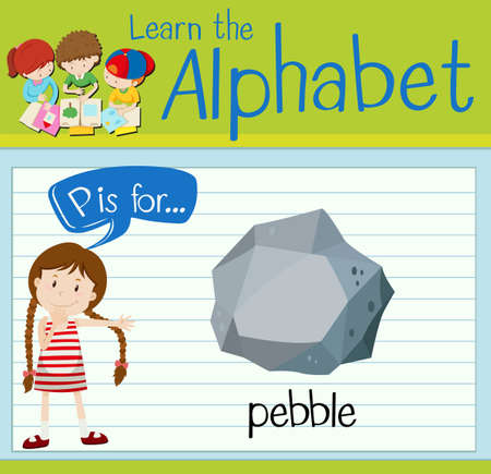 heavy: Flashcard letter P is for pebble illustration