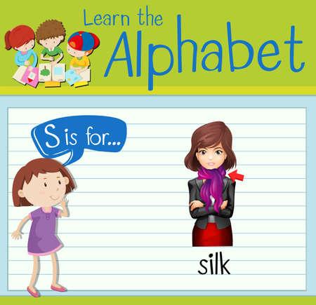 children s art: Flashcard letter S is for silk illustration