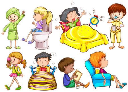 child sitting: Kids doing different activities illustration Illustration
