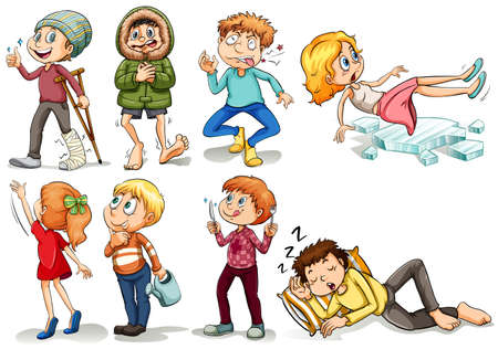injured person: People doing different actions illustration Illustration