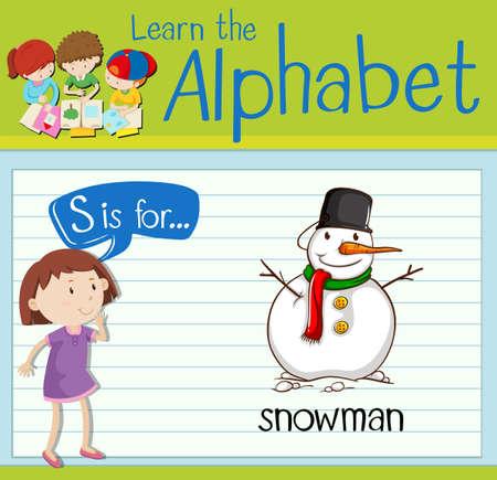 children s art: Flashcard letter S is for snowman illustration