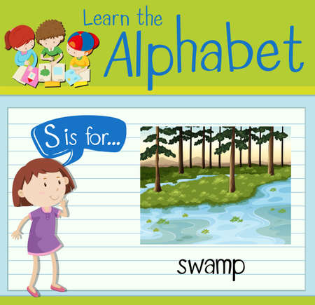 Flashcard letter S is for swamp illustration