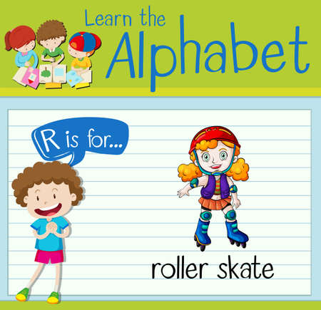 roller skate: Flashcard letter R is for roller skate illustration