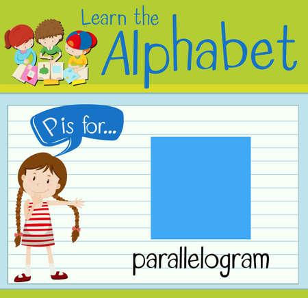 parallelogram: Flashcard letter P is for parallelogram illustration Illustration