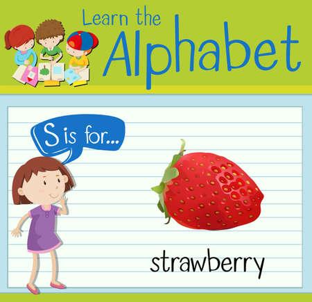 children studying: Flashcard letter S is for strawberry illustration
