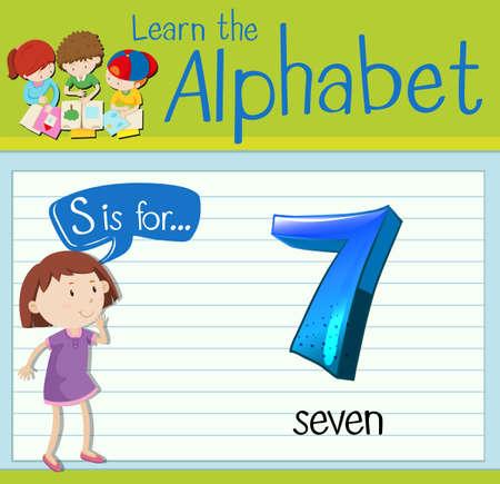 countable: Flashcard letter S is for seven illustration Illustration