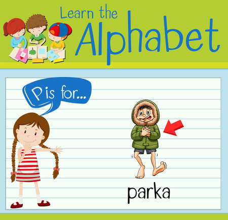 p illustration: Flashcard letter P is for parka illustration
