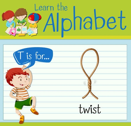 twist: Flashcard letter T is twist illustration