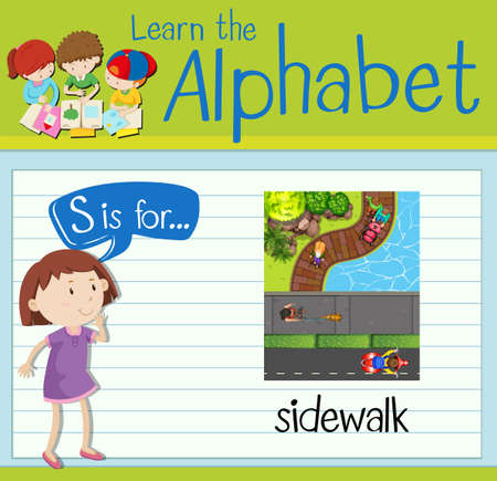 kid s illustration: Flashcard letter S is for sidewalk illustration Illustration
